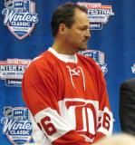 Joe Kocur displays the jerseys to be worn in the Alumni Showdown prior to the 2014 Winter Classic at the announcement press conference.