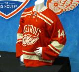 The Detroit Red Wings' 2014 Winter Classic jersey as displayed at the announcement event.