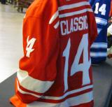 The back of the Detroit Red Wings' 2014 Winter Classic jersey as displayed at the announcement event.
