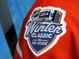 The 2014 Winter Classic logo patch on the shoulder of the Detroit Red Wings' jersey as displayed at the announcement event.