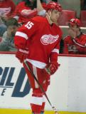 Riley Sheahan skates along the boards during pre-game warmups.
