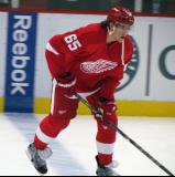 Danny DeKeyser skates along the blue line during pre-game warmups.