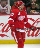 Niklas Kronwall stands in the neutral zone during pre-game warmups.