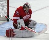 Jimmy Howard makes a save during pre-game warmups.