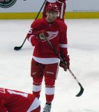 Riley Sheahan skates in the neutral zone during pre-game warmups.