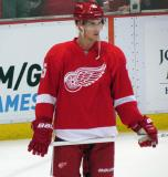 Cory Emmerton stands near the corner during pre-game warmups.