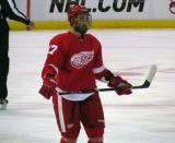 Kyle Quincey skates during a stop in play.
