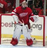 Jimmy Howard stands in his crease prior to the start of the second period.