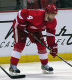 Jakub Kindl gets set for a faceoff.