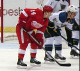 Gustav Nyquist gets set for a faceoff opposite Alexander Steen of St. Louis.
