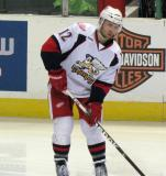 Brent Raedeke looks to make a pass during pre-game warmups before a Grand Rapids Griffins game.