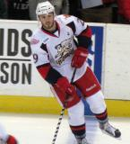 Landon Ferraro skates at the blue line during pre-game warmups before a Grand Rapids Griffins game.