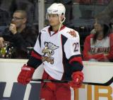 Tomas Tatar stands along the boards during pre-game warmups before a Grand Rapids Griffins game.