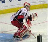 Tom McCollum comes out to face a shot during pre-game warmups before a Grand Rapids Griffins game.