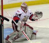 Petr Mrazek comes out to face a shot during pre-game warmups before a Grand Rapids Griffins game.