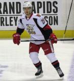Gleason Fournier skates at the blue line during pre-game warmups before a Grand Rapids Griffins game.