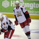 Riley Sheahan skates during pre-game warmups before a Grand Rapids Griffins game.