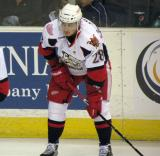 Tomas Jurco crouches near the boards during pre-game warmups before a Grand Rapids Griffins game.