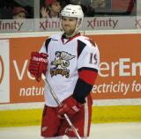 Riley Sheahan stands during pre-game warmups before a Grand Rapids Griffins game.