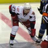 Tomas Tatar gets set for the opening faceoff of a Grand Rapids Griffins game.