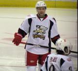 Chad Billins skates during a stop in play in a Grand Rapids Griffins game.
