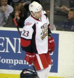 Triston Grant skates back to the bench during a stop in play in a Grand Rapids Griffins game.