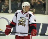 Nathan Paetsch looks back to the bench during a stop in play a Grand Rapids Griffins game.