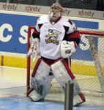 Petr Mrazek gets set in his crease at the start of the second period of a Grand Rapids Griffins game.
