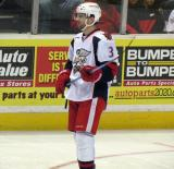 Brett Skinner waits for a faceoff during a stop in play in a Grand Rapids Griffins game.