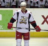Tomas Tatar stands on the ice prior to the start of the third period of a Grand Rapids Griffins game.