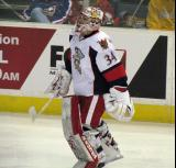 Petr Mrazek skates back to the crease after a time out in a Grand Rapids Griffins game.