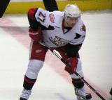 Tomas Tatar gets set for the opening faceoff of overtime in a Grand Rapids Griffins game.