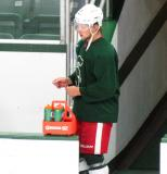 Justin Abdelkader steps onto the bench during a session of the 2013 MSU Pro Camp.