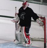 Joel Martin stands in his crease during a session of the 2013 MSU Pro Camp.