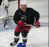 Justin Abdelkader skates near the crease during a session of the 2013 MSU Pro Camp.