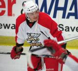 Martin Frk gets set for a faceoff during a Grand Rapids Griffins preseason game.