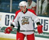 Martin Frk skates near the boards during a stop in play in a Grand Rapids Griffins preseason game.