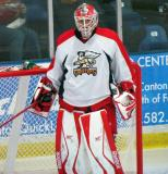 Tom McCollum gets set in his crease during a Grand Rapids Griffins preseason game.
