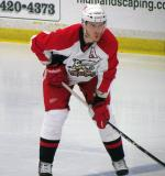 Brennan Evans gets set for a faceoff during a Grand Rapids Griffins preseason game.
