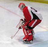 Tom McCollum gets set at the top of his crease during a Grand Rapids Griffins preseason game.