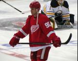 Stephen Weiss stands at center ice during pre-game warmups.