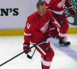 Daniel Alfredsson skates at the blue line during pre-game warmups.