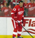 Pavel Datsyuk skates along the boards during pre-game warmups.