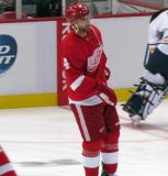 Jakub Kindl skates in the neutral zone during pre-game warmups.