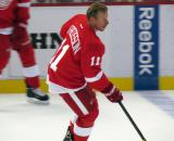 Daniel Alfredsson skates to the blue line during pre-game warmups.