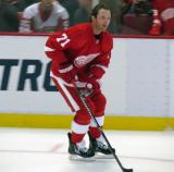 Daniel Cleary skates along the boards during pre-game warmups.