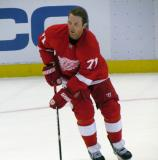 Daniel Cleary skates in the left faceoff circle during pre-game warmups.