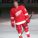Daniel Alfredsson skates onto the ice during pre-game player introductions.