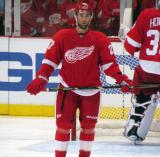 Kyle Quincey looks towards the Detroit bench during a stop in play.