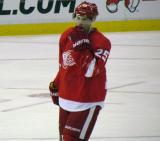 Cory Emmerton stands on the ice during a stop in play.
